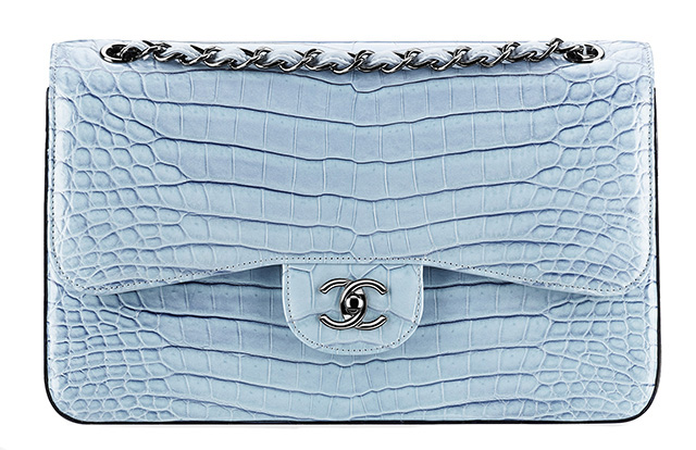 Chanel Faded Alligator Classic Flap Bag Blue