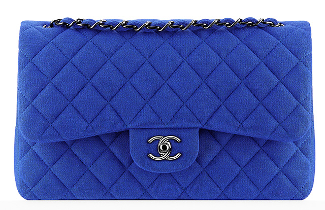 Chanel Jersey Classic Flap Bag Blue