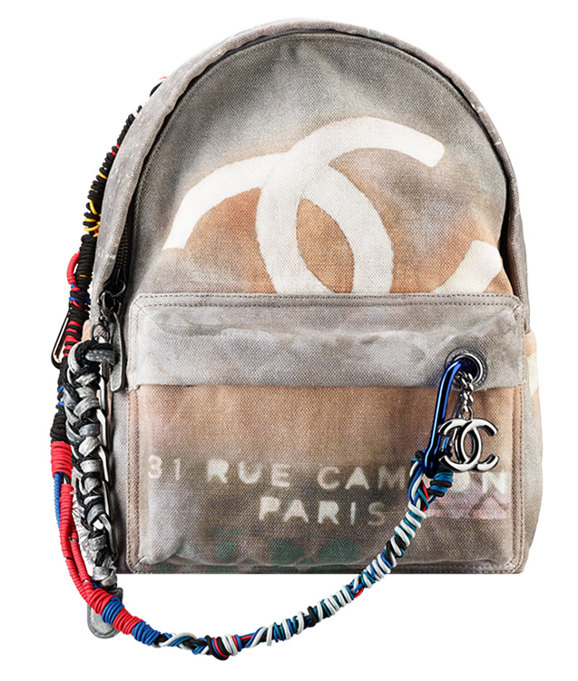 Chanel Light Grey Graffiti Backpack