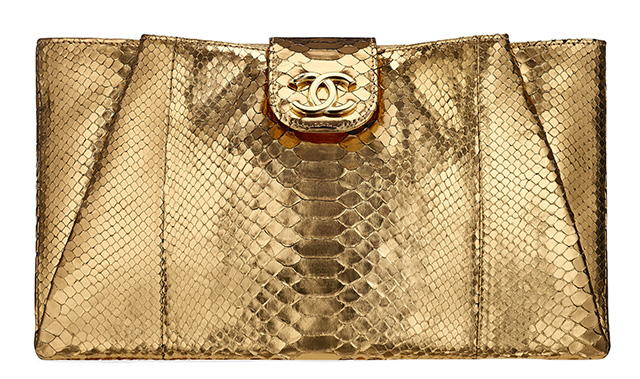 Chanel Metallic Python Clutch