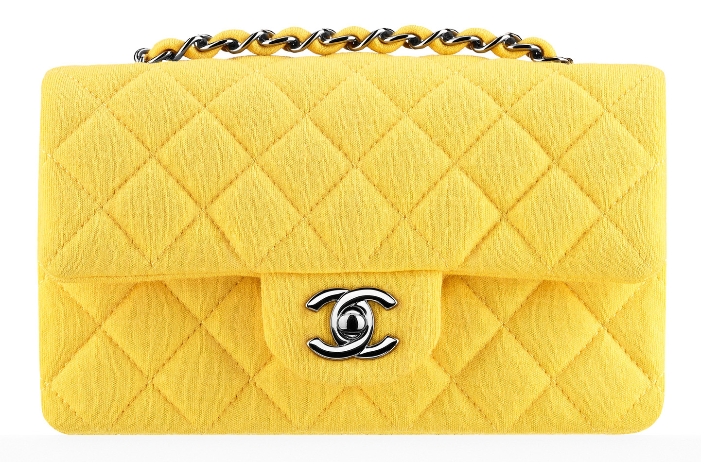 Chanel Small Jersey Classic Flap Bag Yellow