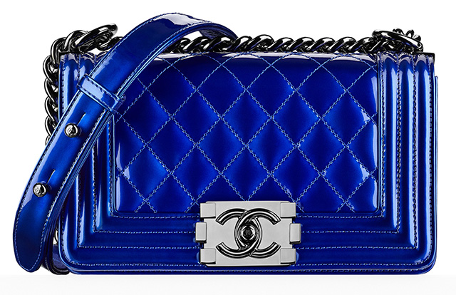 Chanel Small Patent Boy Bag Blue