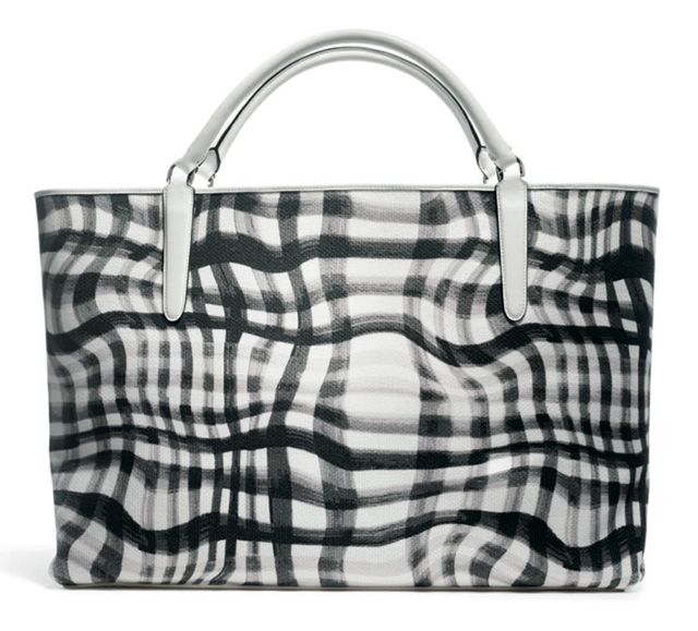 Coach Wavy Gingham East-West Town Tote Black