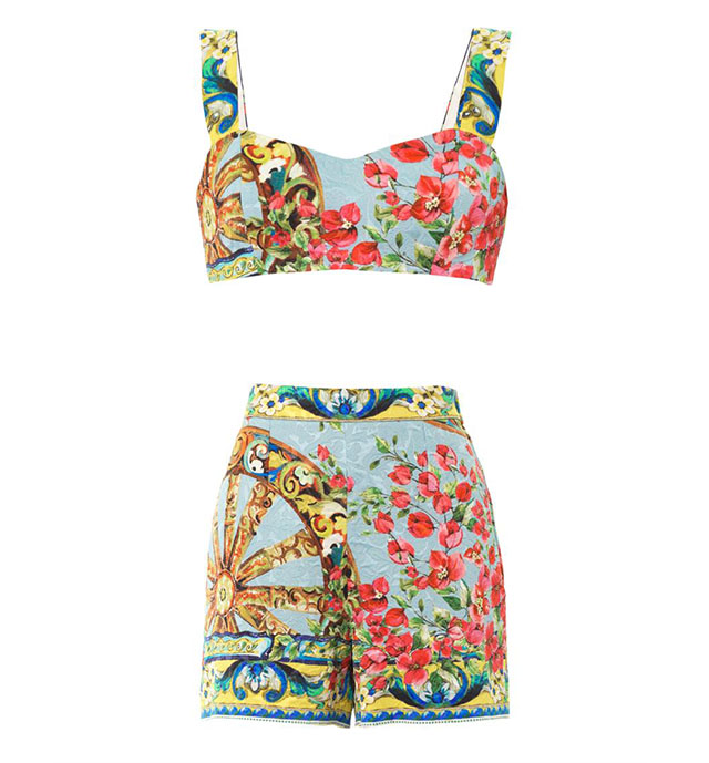 Dolce & Gabbana Floral-Brocade Top and Shorts Set