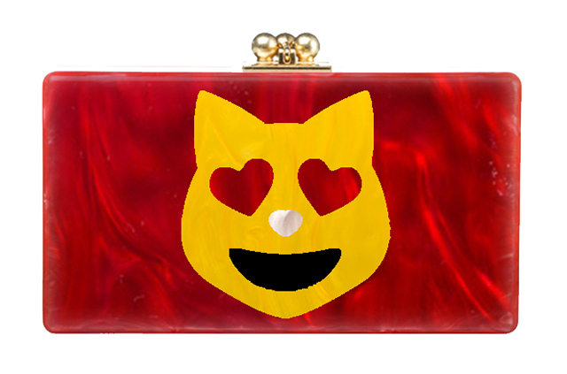 Edie Parker Love Cat Jean Clutch