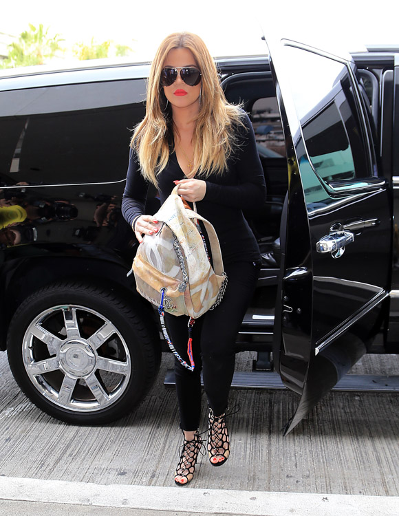 Khloe Kardashian Chanel Graffiti Printed Canvas Backpack-1