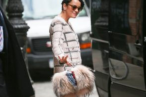Lily Allen Exits Her NYC Hotel with a Furry Fendi Bag