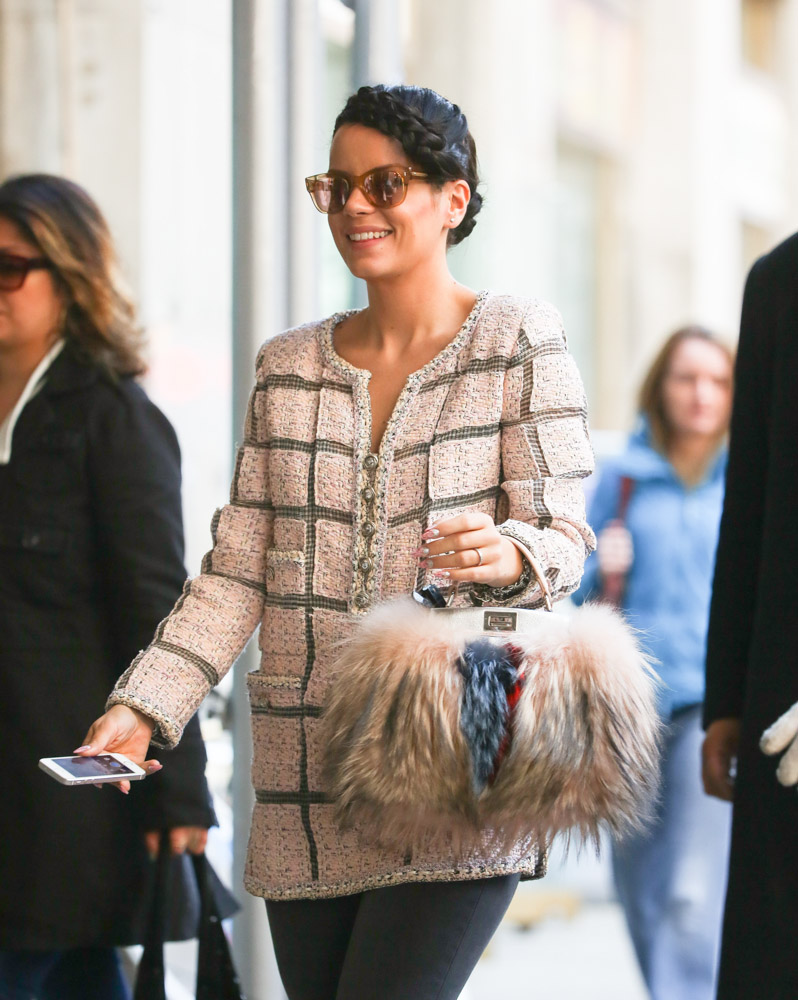 Lily Allen Fendi Fur Peekaboo Bag-4