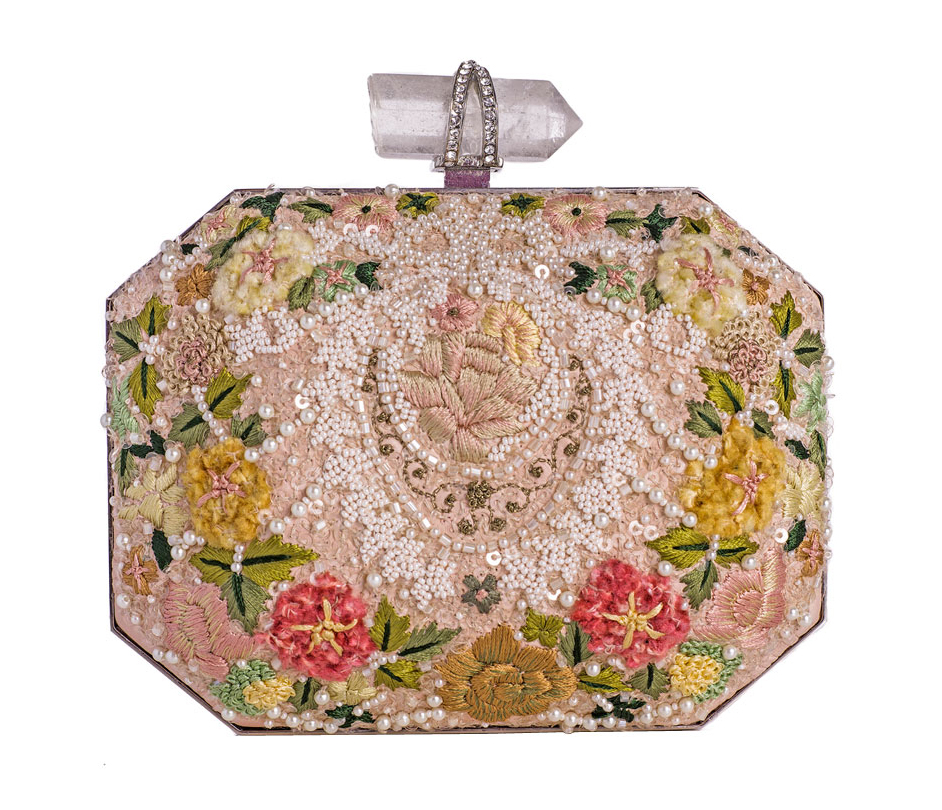 Marchesa Floral Embroidered Box Clutch