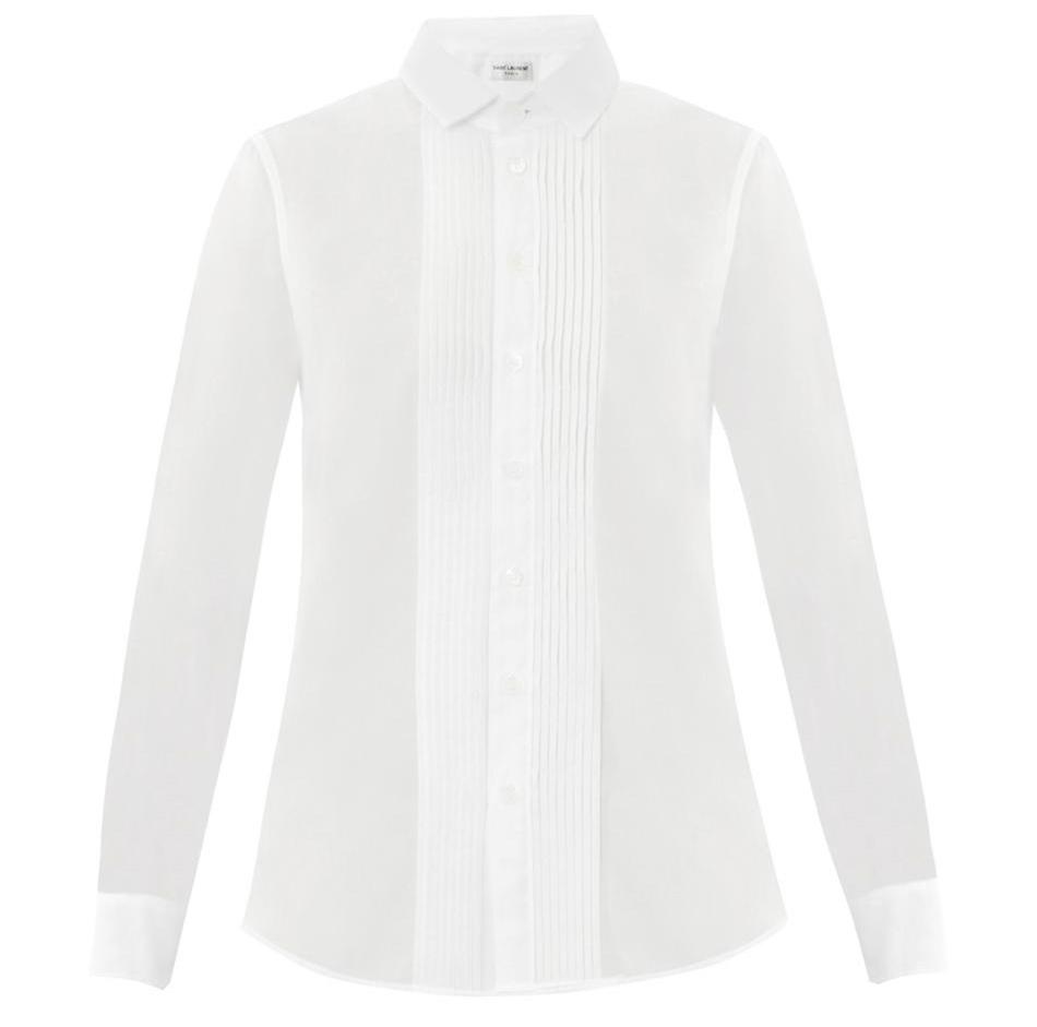 Saint Laurent Pleated Front Voile Cotton Shirt