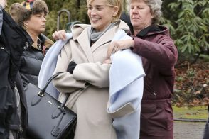 Sharon Stone Carries Alexander McQueen on the Set of Her New Show