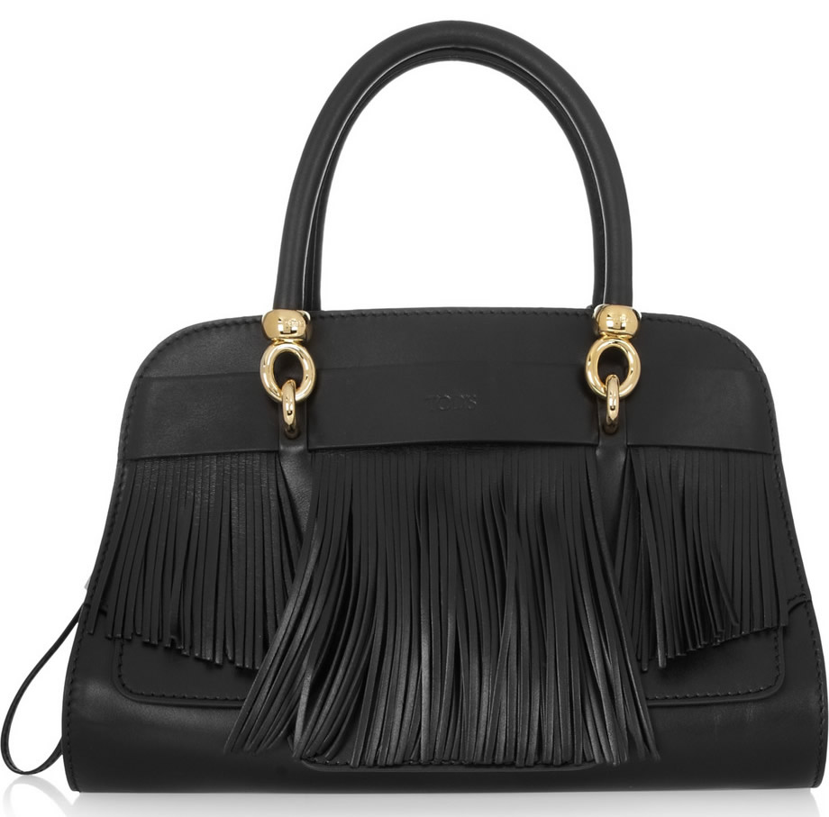 Tods Sella Fringe Leather Satchel