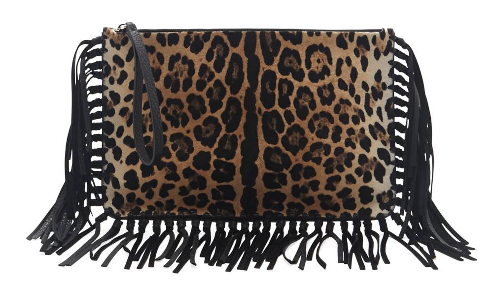 Valentino Calf Hair Fringe Clutch Bag