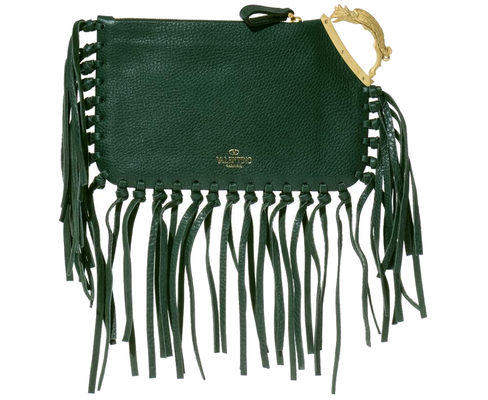 Valentino Gryphon-Handle Fringe Clutch