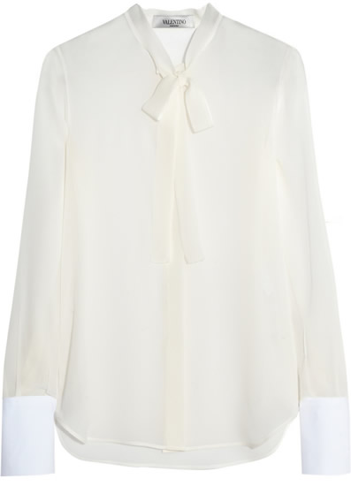 Valentino Silk-Georgette and Cotton-Pique Blouse