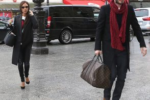 David and Victoria Beckham Leave Paris with Louis Vuitton Luggage