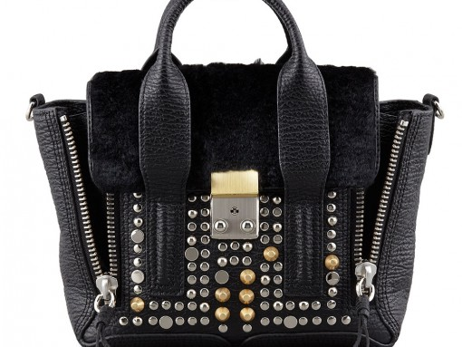 3.1 Phillip Lim Pashi Mini Studded Leather Fur Satchel