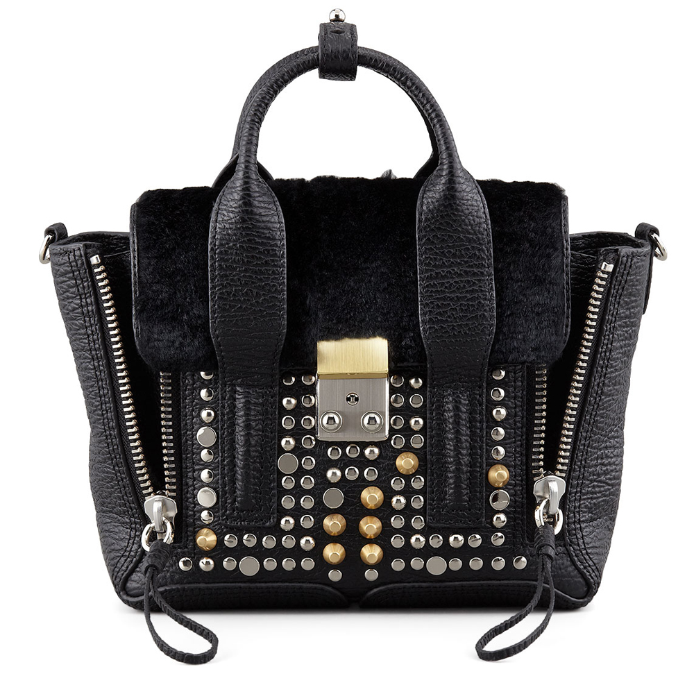 3.1 Phillip Lim Pashli Mini Studded Leather Fur Satchel Bag