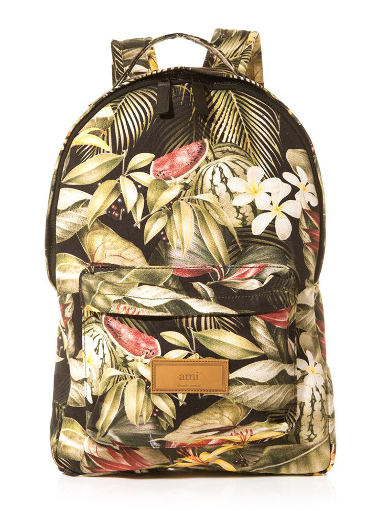 AMI Floral Print Canvas Backpack