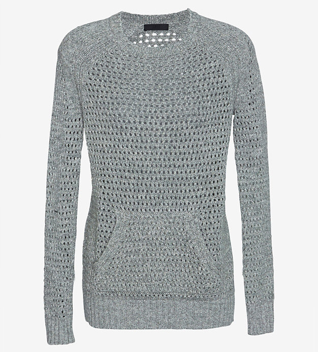 ATM Open Weave Kangaroo Pocket Knit Sweater