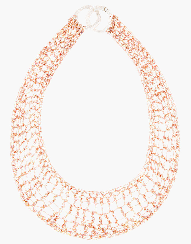 Arielle de Pinto Rose Gold Lattice Bib Necklace