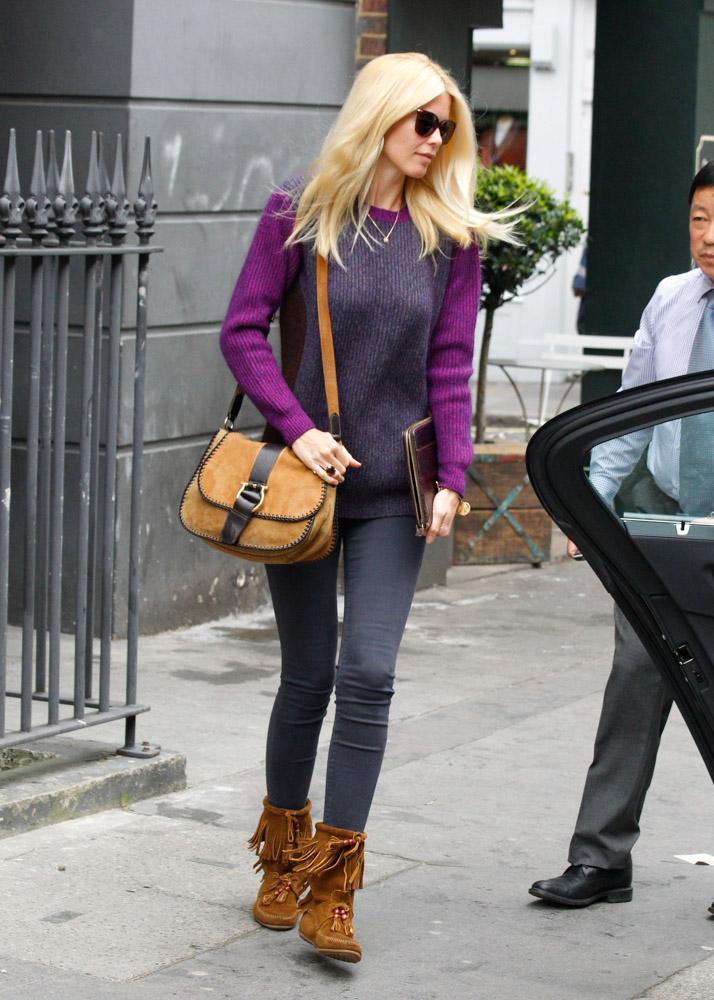 Claudia Schiffer Salvatore Ferragamo Suede Emidia Crossbody Bag-4