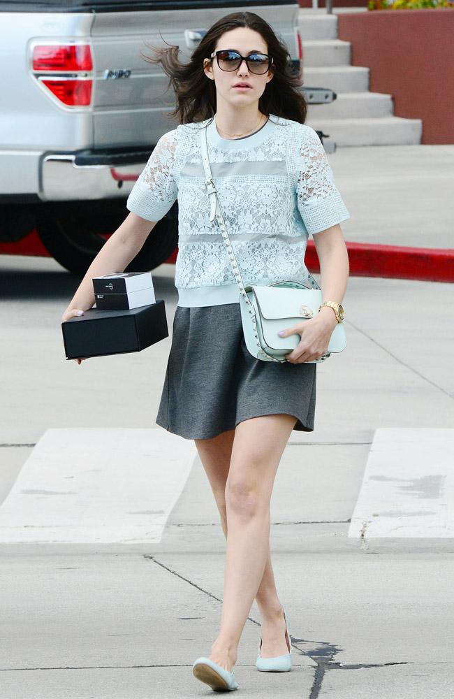 Emmy Rossum Rebecca Minkoff Blake Studded Shoulder Bag-1