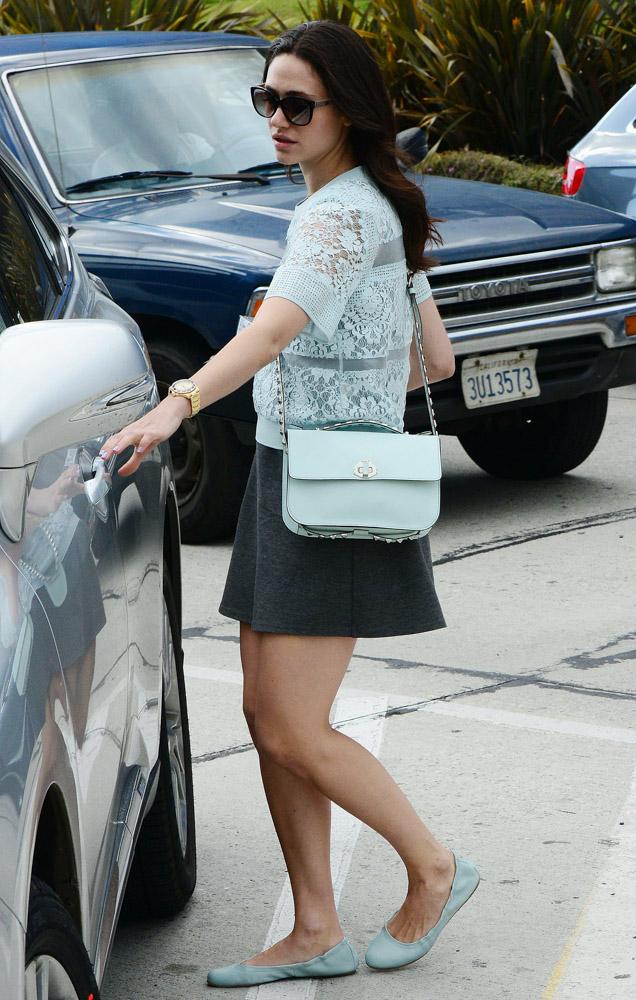 Emmy Rossum Rebecca Minkoff Blake Studded Shoulder Bag-3