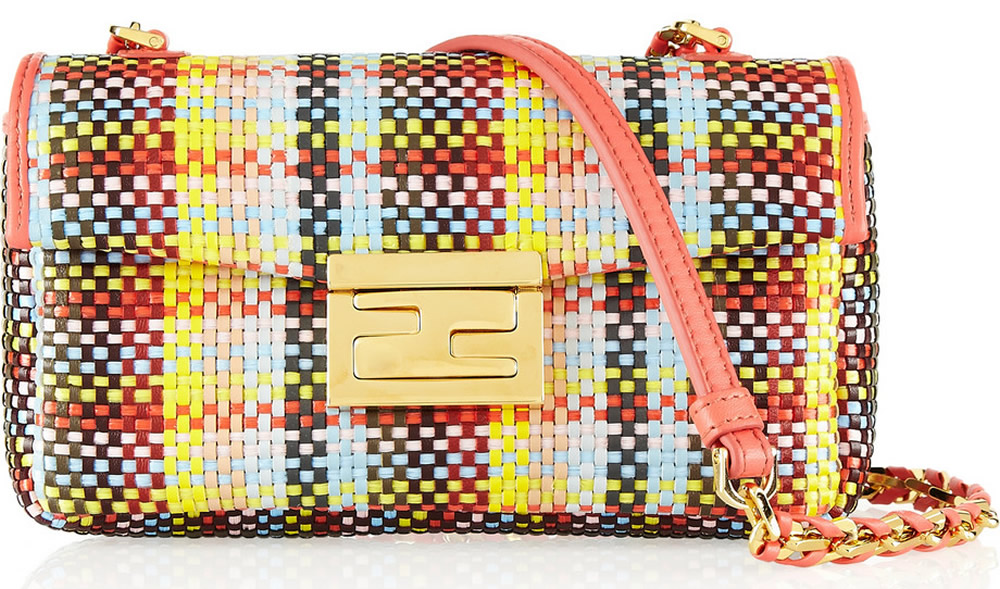 Fendi Be Baguette Mini Woven Straw Bag
