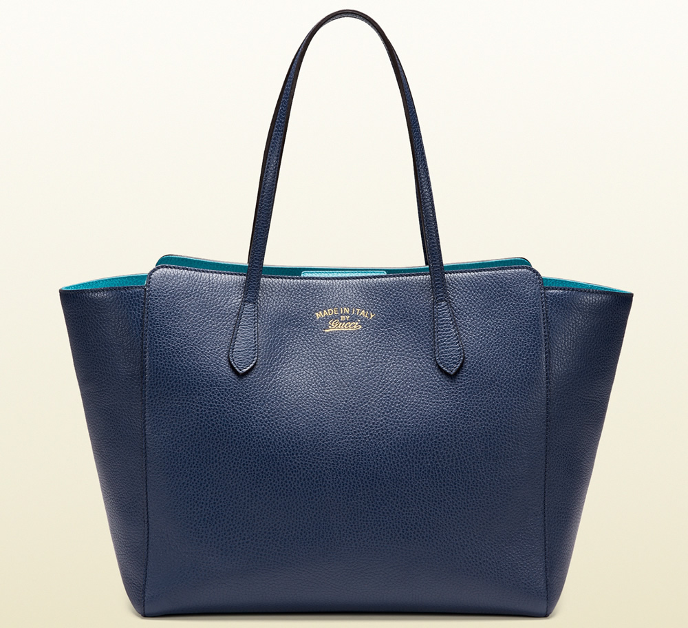 Gucci Swing Leather Tote Blue