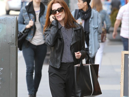 Julianne Moore Enjoys NYC's Nice Weather with a Reed Krakoff Tote