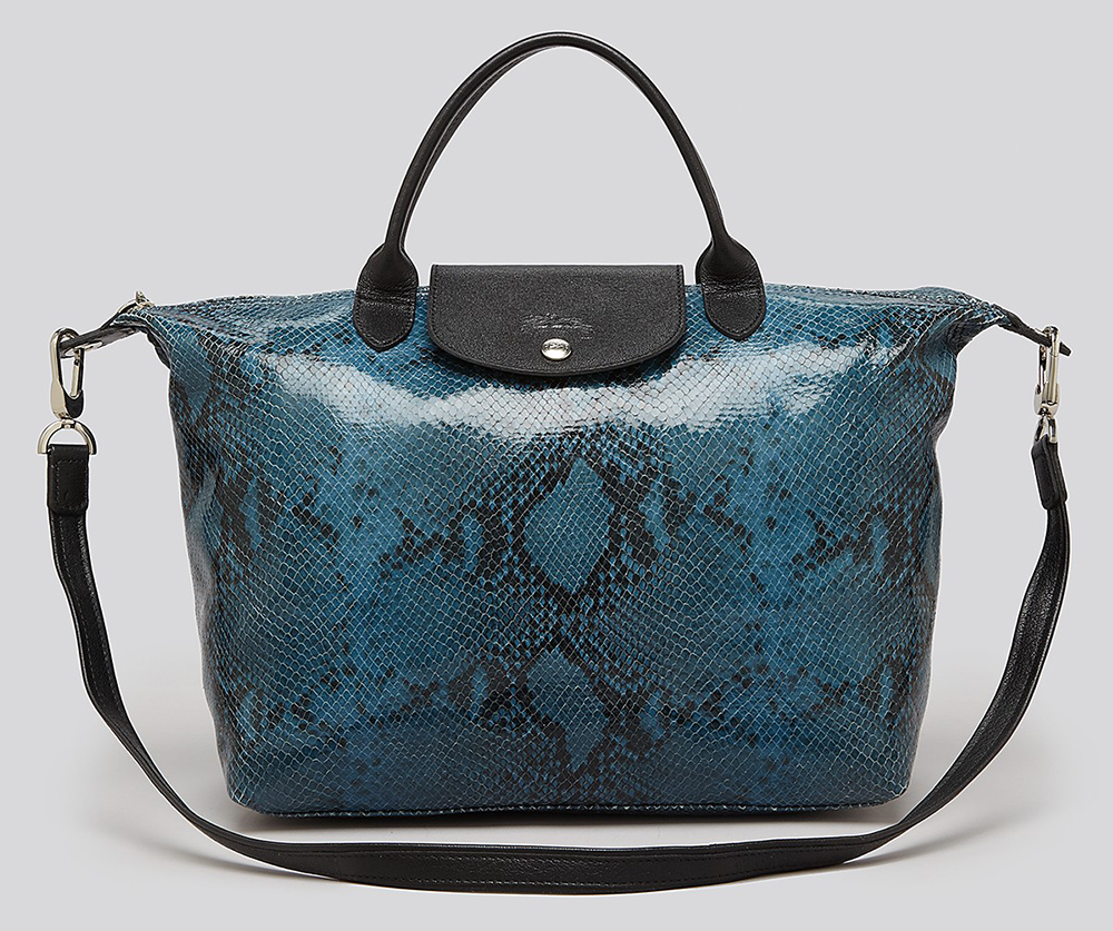 Longchamp Python Embossed Le Pliage Bag