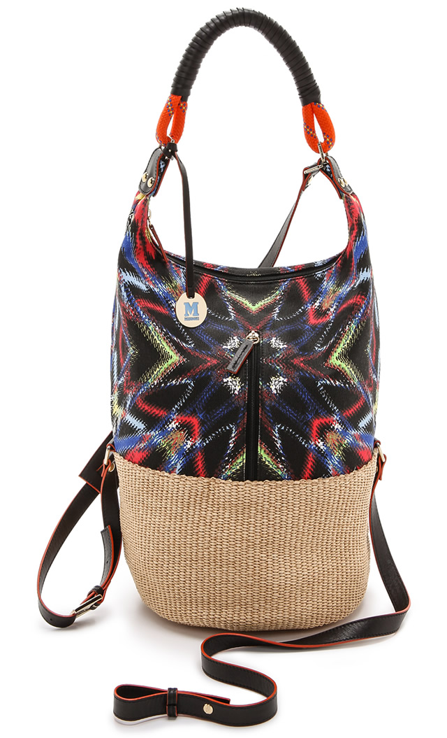 M Missoni Frequency Canvas Raffia Bag
