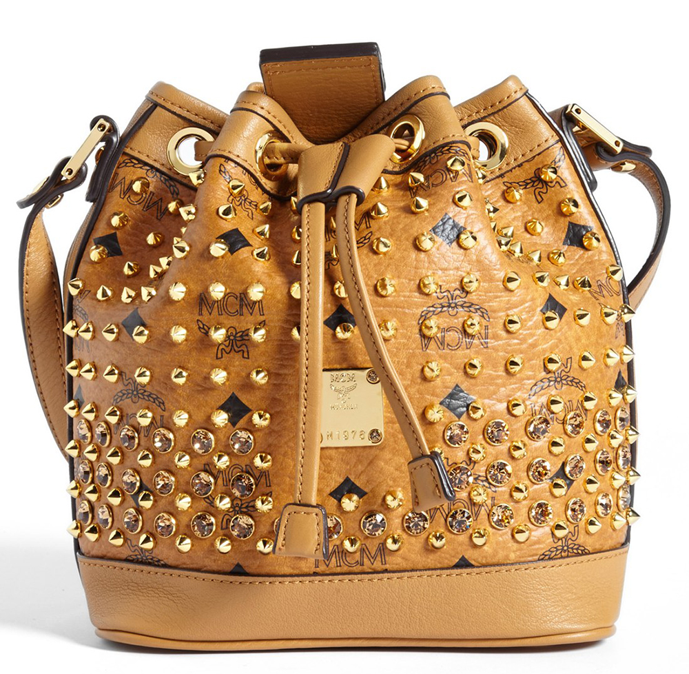 MCM Studded Mini Bucket Bag