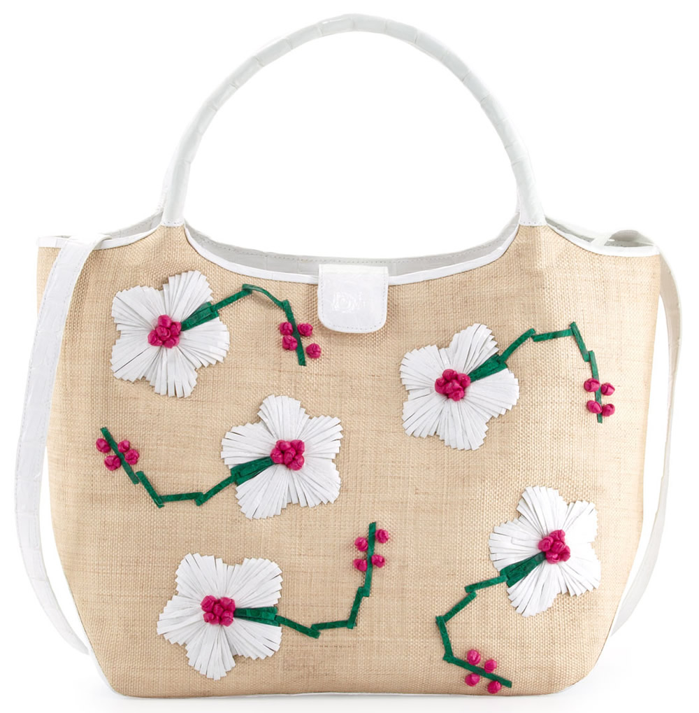 Nancy Gonzalez Crocodile Straw Flower Tote Bag