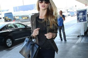 Rosie Huntington-Whiteley Travels with a Saint Laurent Bag