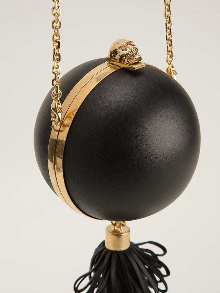 Alexander McQueen Leather Sphere Skull Clutch Bag
