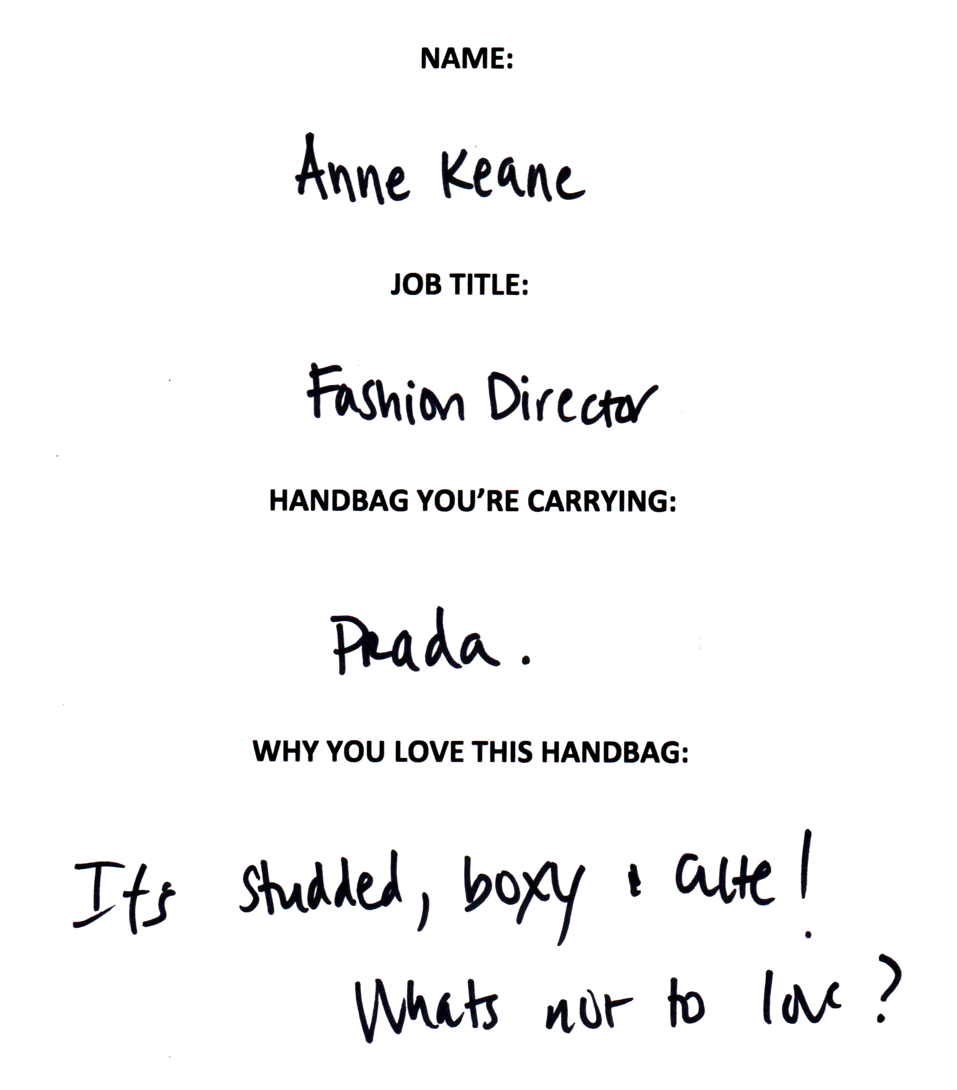 Anne Keane Prada Answers