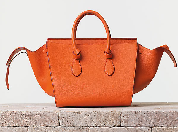 Celine Tie Handbag in Crisped Calfskin Bright Orange