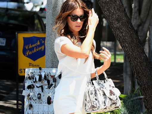 Kate Beckinsale Proenza Schouler PS13 Snakeskin Bag