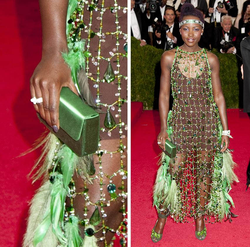 Lupita Nyongo Prada Raso Box Clutch