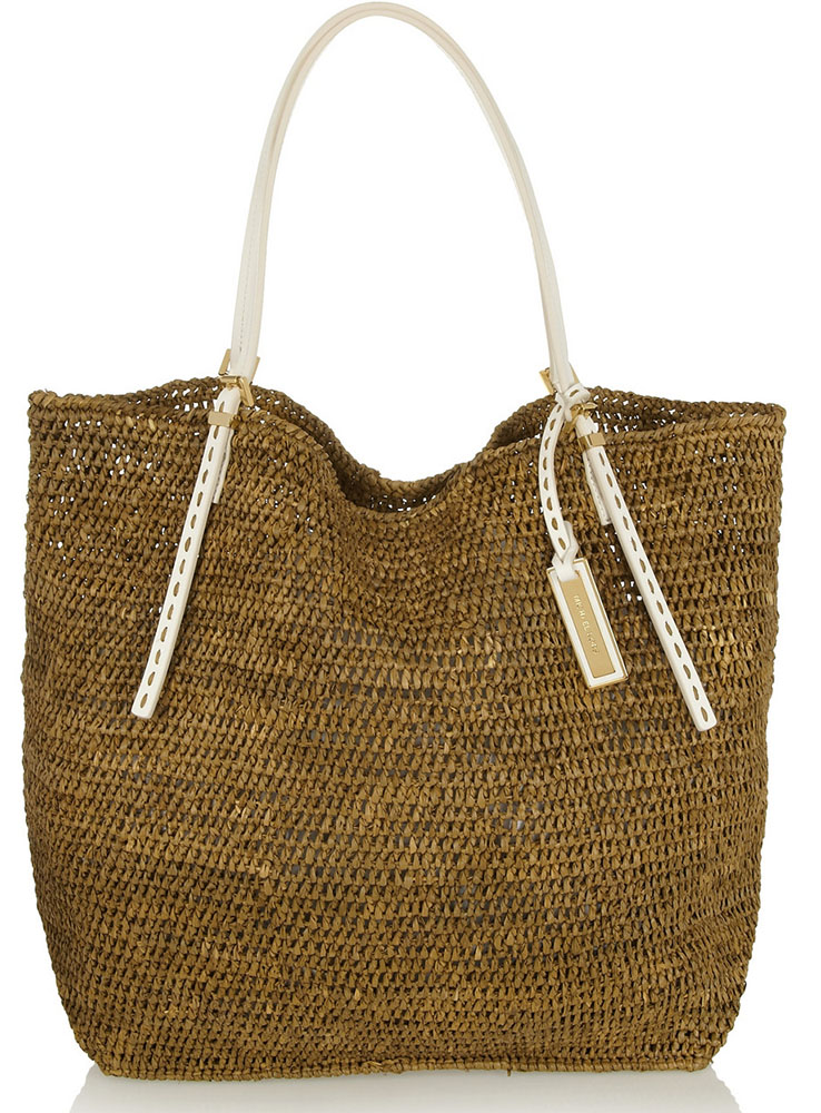 Michael Kors Santorini Leather Trimmed Raffia Tote