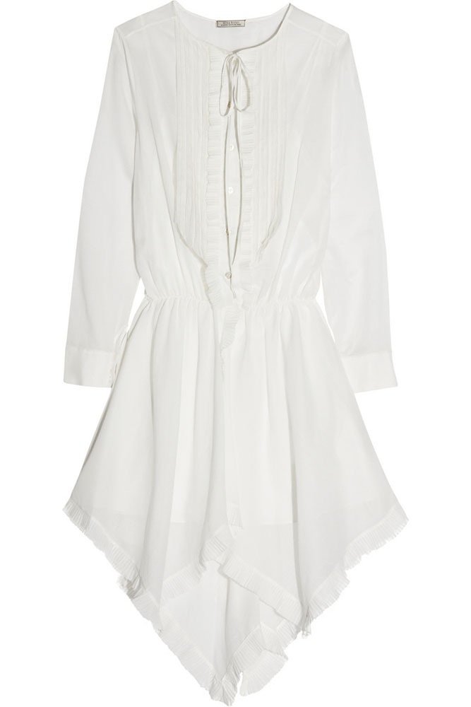 Nina Ricci Plissé-Trimmed Cotton Voile Dress