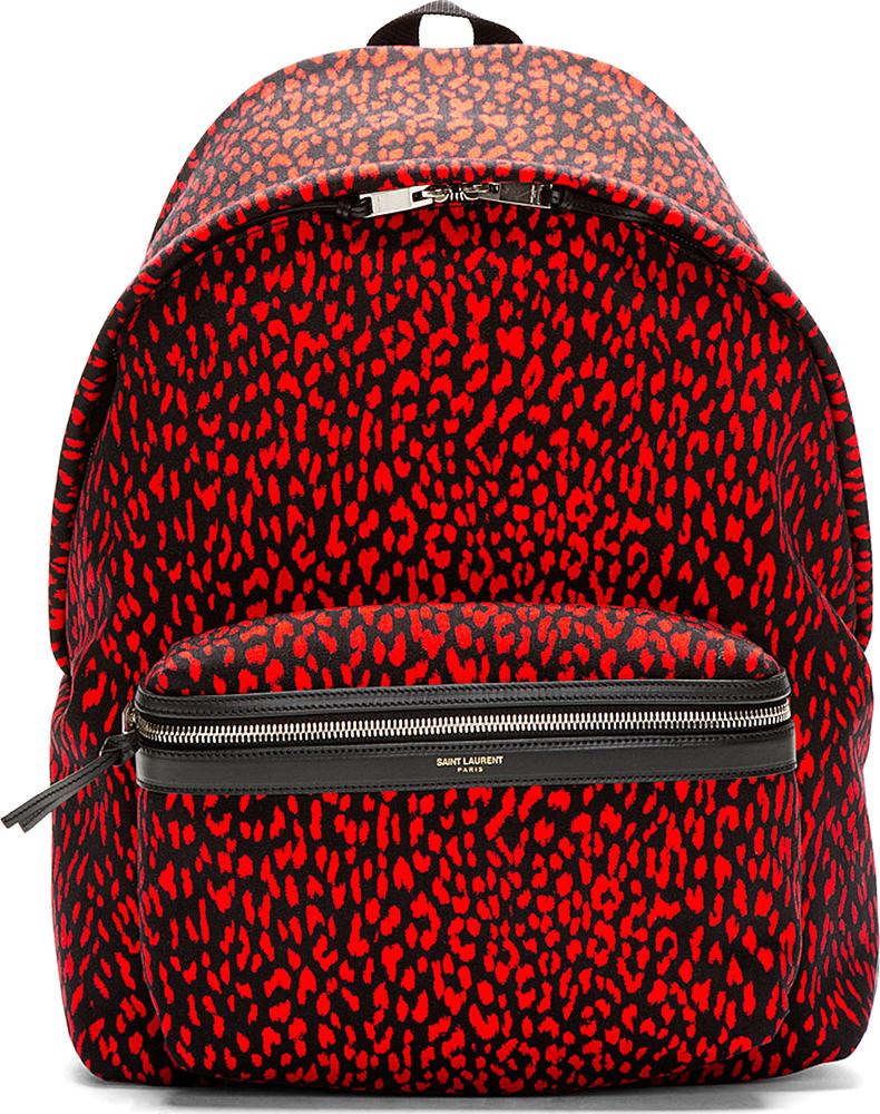Saint Laurent Red Baby Cat Print Backpack