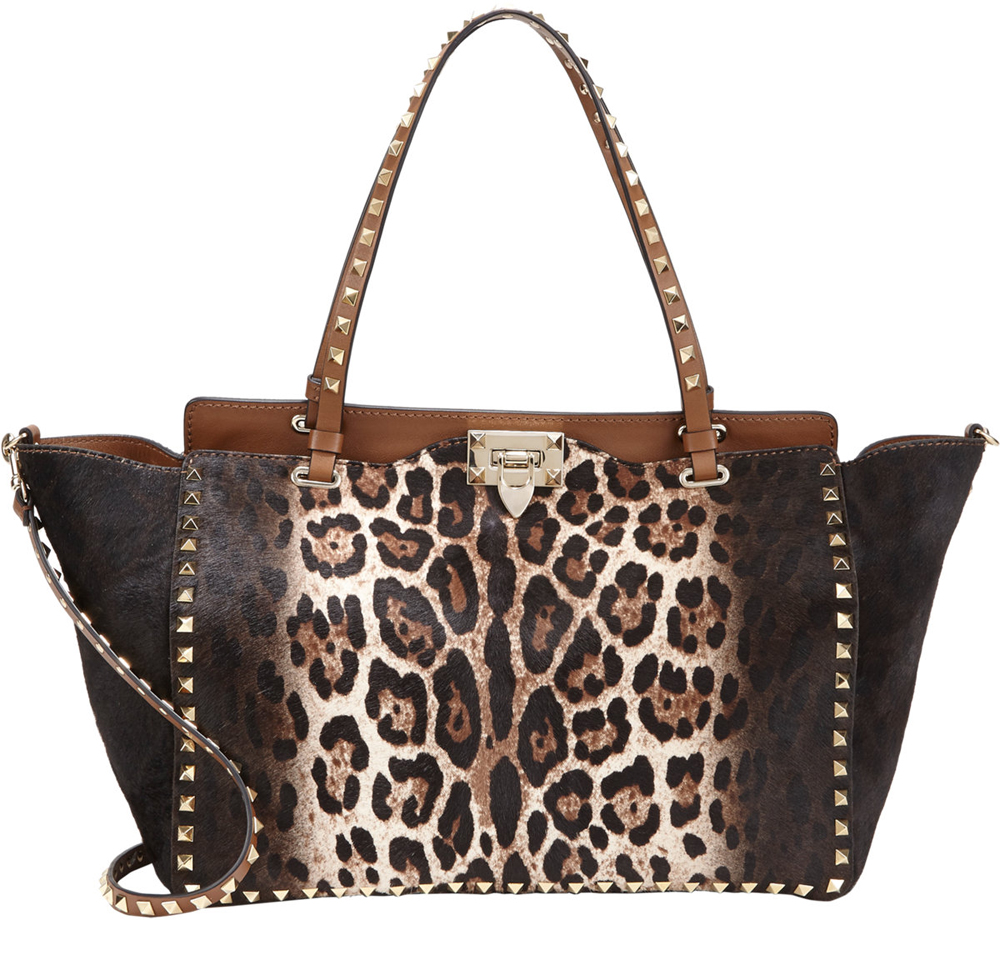 Valentino Leopard Calf Hair Rockstud Trapeze Bag, $3,995 via Barneys