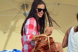 Adriana Lima Takes Her Louis Vuitton Bag to the Beach