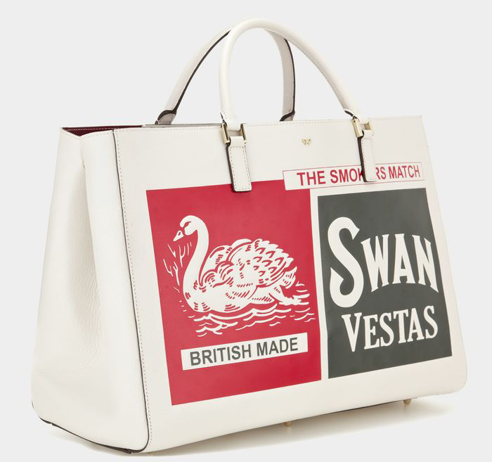 Anya Hindmarch Ebury Maxi Feather Swan Vestas Tote