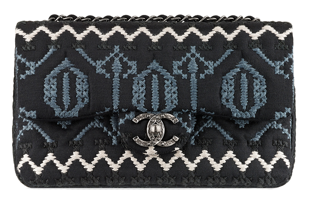 Chanel Embroidered Jersey Flap Bag