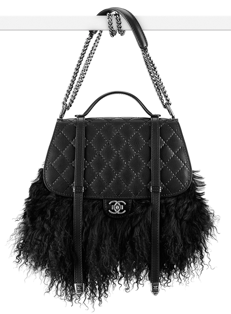 Chanel Fur Double Flap Bag