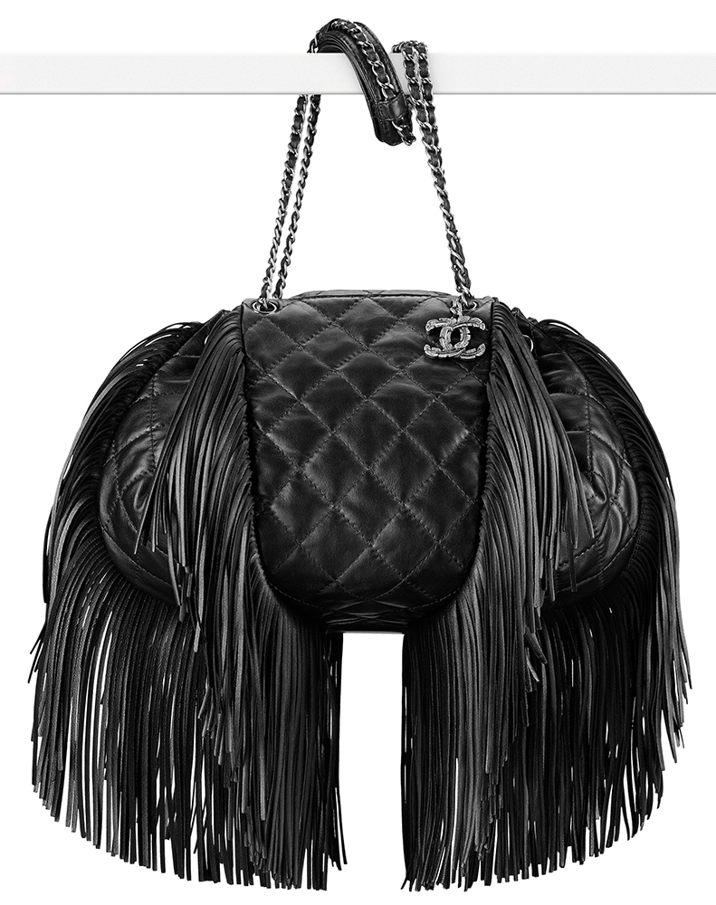 Chanel Lambskin Fringe Drawstring Bag